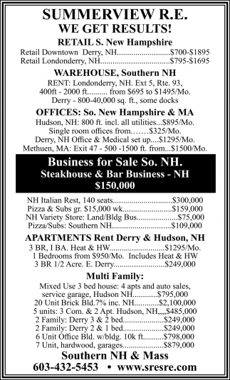 Business For Sale So. NH.
